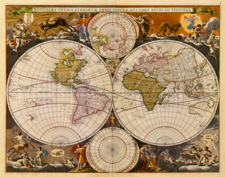 Mapa del mundo nuevo, del siglo 17